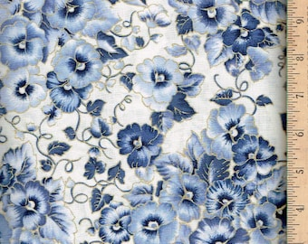 Pansy With Shades of Blue on White With Silver Lining.