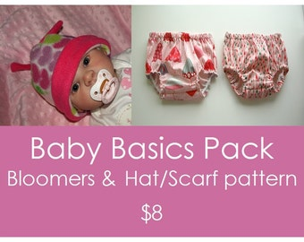 Baby hat pattern, Hat and Scarf pattern, Sewing pattern, Baby pattern, pdf pattern, Bloomer pattern - Baby Basic Pack - 2 patterns