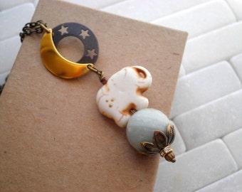 Stone Elephant Necklace Crescent Moon & Stars Bohemian Pendant - Long Chain Necklace Boho Mini Elephant Charm Animal Totem Jewelry Gift