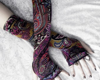Sunset Road Arm Warmers | Black Violet Purple Fuchsia Magenta Pale Turquoise Red Gold Floral Paisley Mandala | Yoga Gothic Dark Tribal Gaia