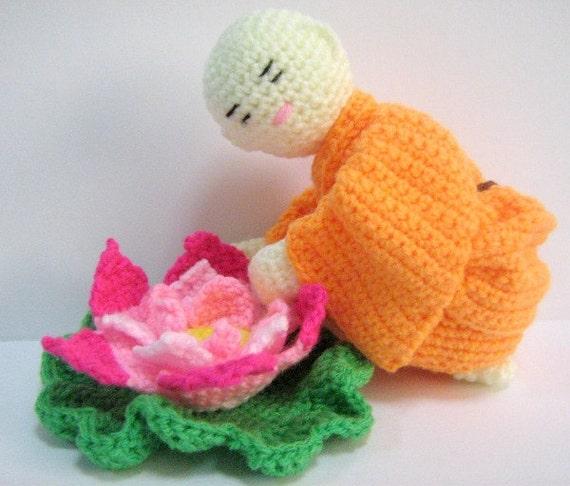 Amigurumi Crochet Pattern Monk Lotus Flower Crochet Pattern