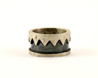 Vintage Zigzag Design Band Ring 925 Sterling Silver RG 3000