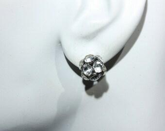 Rhinestone Cluster Ball Earrings, Pierced, Dressup, Wedding, Bridal Jewelry, Silver Tone, Crystal, Stud