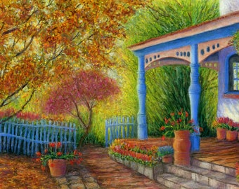 Old Santa Fe House, Pastel, Giclee Prints, New Mexico, Santa Fe, Landscape, house, flowers,