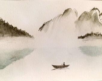 Misty Morning Mountain Landscape