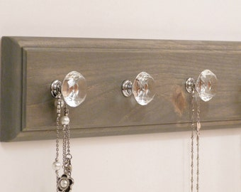 16 inches/4 knobs Jewelry Organizer, Necklace Holder, Bracelet Holder, Antique Grey