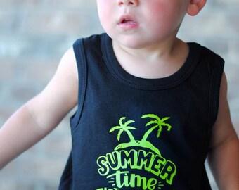 Summer shirt, Summer Tank, Toddler Tank, Boys Tank, Palm Tree Shirt, Beach Shirt, Boys Beach shirt, Toddler Boys Shirt, Boys Summer Shirt