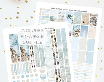 Beach Neutrals - Printable Weekly Kit for Mini Happy Planner   Planner Stickers   Instant Download   PDF & JPG   Includes Cut File