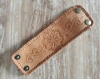 Women leather cuff - leather bracelet - hand tooled leather cuff