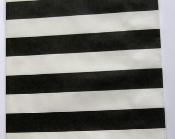 "Set of 20 Black and White Horizontal Stripe Design Middy Bitty Bags (5"" x 7.5"")"