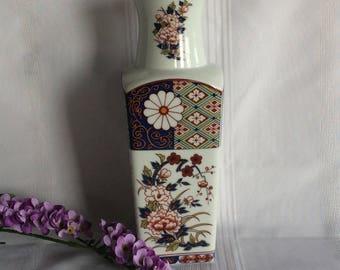 """Vintage Japan Imari Ware 10"""" tall flower vase Oriental ceramic home decor"""