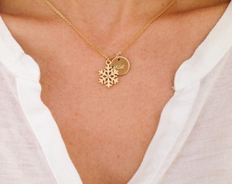 Personalized Snowflake Necklace Snowflake Jewelry / Bridesmaid Necklace for Winter Wedding /