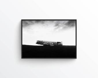 Shot to Hell - Digital Print - Printable Art - solheimasandur - Airplane - Modern - Minimal - Iceland - masculine - minimalist - industrial
