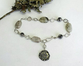 Sterling Silver Bracelet with Tourmalinated Quartz Beads and a Pentagram Charm