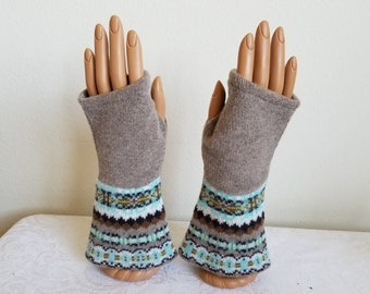 Flared Bottom Fingerless Gloves in Beige and Aqua Merino Wool