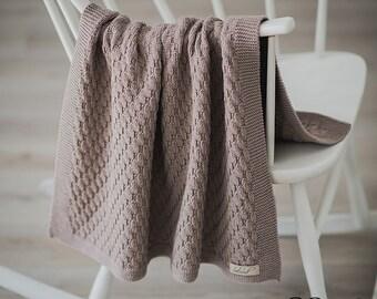 Hand Knitted Baby Blanket, Merino Wool Knit Baby Blanket, Knit Baby Boy Blanket, Knitted Baby Girl Blanket, Knit Toddler Blanket