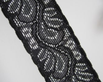 10 yds Black Lace Stretch Elastic with gripper band