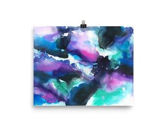 Blue Swirls Watercolor Painting Art Print