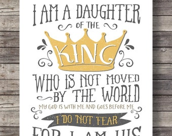 Daughter of the King Bible journaling Printable art I do not fear typography Scripture print wall art Women gift mothers day art print