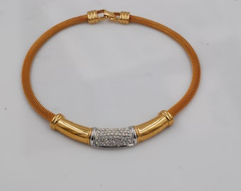 Gold Tone With Very Sparkly Crystals Choker. Classy Business Wear Necklace