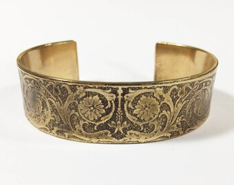 Cuff Bracelet Etched Brass Cuff Leafy Vines - Free Domestic Shipping