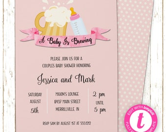 Baby Is Brewing Invitation | Baby Shower | Printable Editable Digital PDF File | Instant Download | BSI121DIY