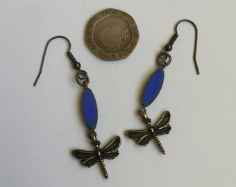 Vintage style dragonfly earring,  opaque blue Picasso table cut czech glass beads