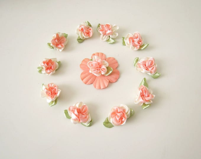 10 Peach ribbon roses, Rose flower applique - Small fabric flower appliques - Shabby ribbon roses - Rose appliques for bridal accessories