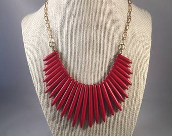 Red Spike Statement Necklace, Red Spike Beads, Bib Necklace