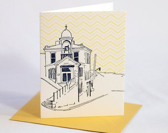 Ellicott City Maryland Letterpress Card | Fire House Museum | navy & yellow, single blank card with envelope