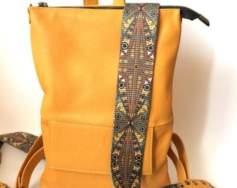 Yellow leather backpack, backpack woman, women's backpack , Valentine's Day Gifts, rucksack yellow.