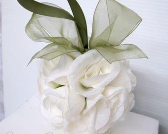 Kissing ball, Sage green & White wedding pomander, Wedding decoration, Silk wedding flowers, Wedding decor, Pomander centerpeice
