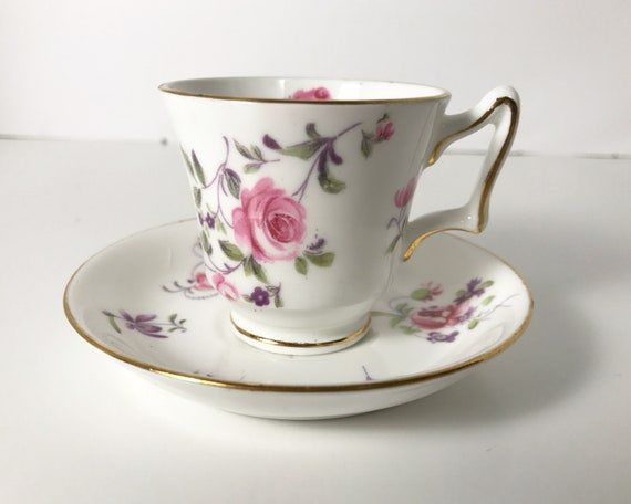 Vintage Crown Staffordshire Pink Roses Demitasse and Saucer