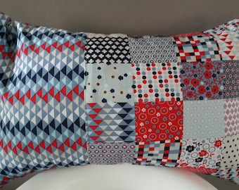 Cushion cover 50 x 30 cm red and blue. geometric patterns
