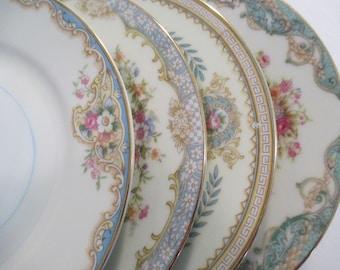 Vintage Mismatched China Dessert Plates, Bread Plates, Shabby, Farmhouse, Tea Party,Wedding,Bridesmaid Gift-Set of 4