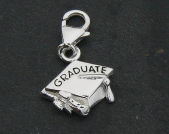 Graduation Charm - Sterling Silver - Mortar Board Charm - OE-SC-0279