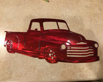 Plasma Cut Kandy red 1950 Chevy truck Mancave Garage Wall Art Home Decor