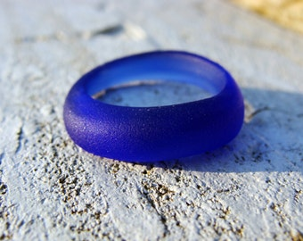 Cobalt Blue Seaglass Ring- Mermaid Treasure Jewelry Handmade-Genuine Sea Glass Ring