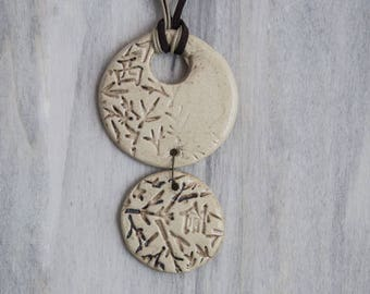 Ceramic pendant double Locket round Chinese motifs and trees print