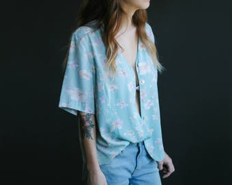 80's Baby Blue Floral Print Blouse | Button-Down Shirt | Short Sleeve Top | S-M-L