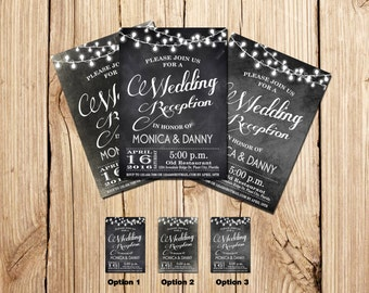 WEDDING RECEPTION Invitation, PSVP, Rustic Wedding Reception Invitation, Chalkboard