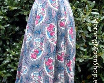 VINTAGE High-Waist SKIRT, Rayon Print MIDI, Retro Boho 1970s Paisley Baroque Floral, blue green deep pink, hippie hipster Festival, pockets!