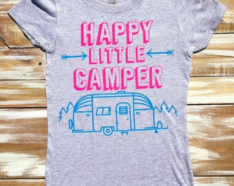 Happy Little Camper Camping Kid Girl Shirt