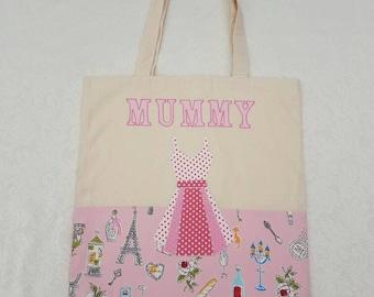 Mummy shopping bag Handmade Mummy calico tote, shopping, market shopping bag