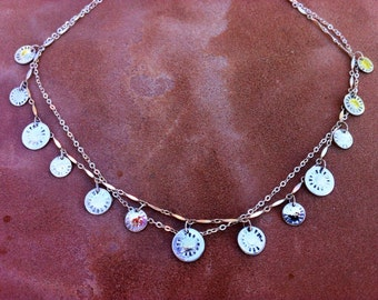 Artisan jewelry, statement necklace, silver and gold sun coins.
