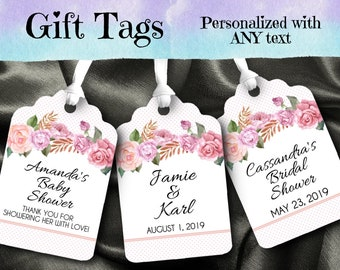 12 Favor Tags, Gift Tag, Floral Design, Pink Roses, Pinks, Corals, Mauve, Flowers, Wedding, Bridal Shower, Baby Shower, Birthday Party