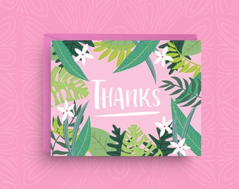 Tropical Thank You Cards, Palm Print Art, Palm Leaves, Boxed Set of Cards, Bridal Shower Thank You Card, Wedding Thank You, Summer Thank You