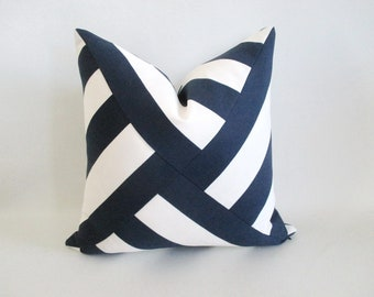 Mitered Pinwheel Pillow Cover Navy Blue White Stripes Indoor Outdoor