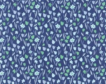 Aria Abloom in Navy, Kate Spain, 100% Cotton, Moda Fabrics, 27236 16