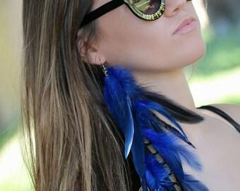 Royal blue Feather Earrings, royal blue long earrings,blue and black earrings, boho earrings, long earrings, unique earrings, gypsy earrings